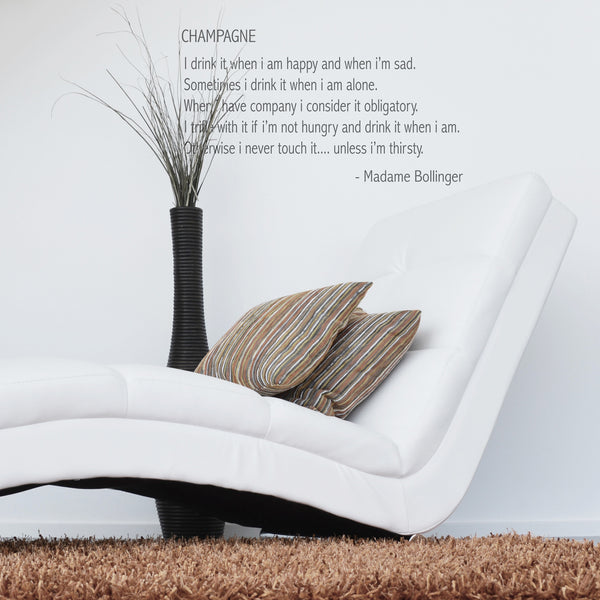 'Champagne' Lily Bollinger Quote Wall Sticker