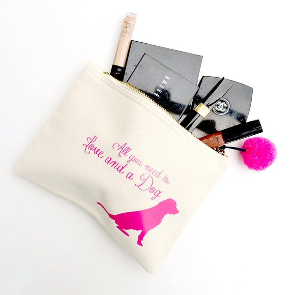 'All you need is love and a dog'  make up bag