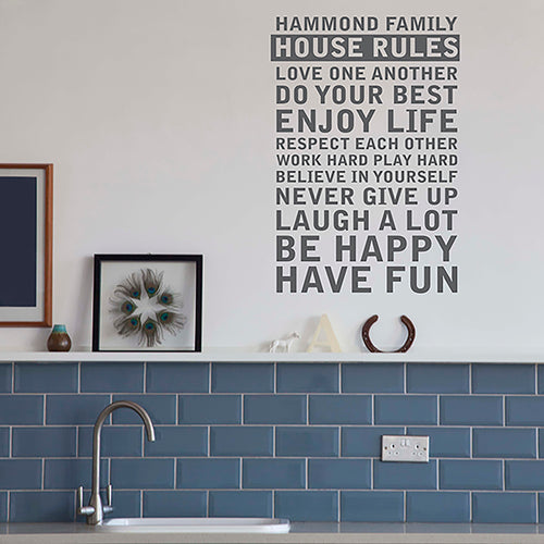 Create your own 'House Rules' Wall Sticker