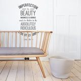 'Imperfection' Marilyn Monroe Quote Wall Sticker