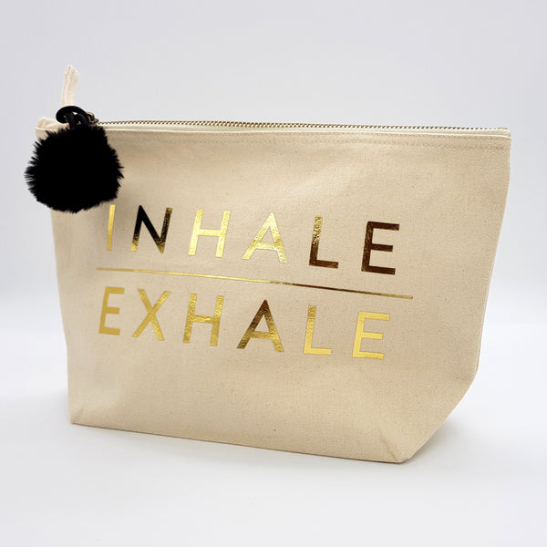 Gold 'Inhale/Exhale' Pom Pom Make Up Bag