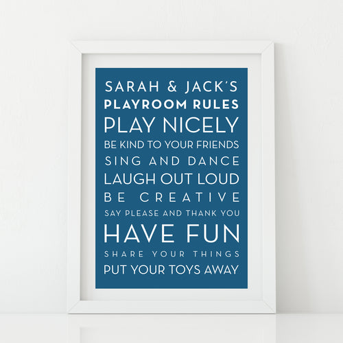 'Playroom rules' Personalised Print