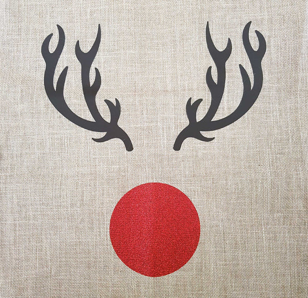 Red Sparkly Nosed Reindeer Christmas Sack