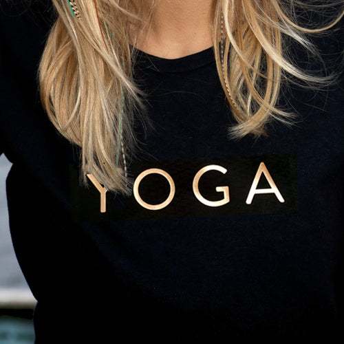 Gold 'Yoga' Short Sleeve fitted Tee