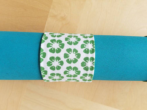Yoga Mat Wrap - Green Flower