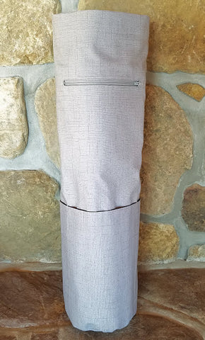 Gray Yoga Mat Bag showing front view of zipper pocket and exterior pockets