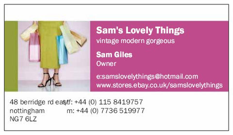 sam's lovely things early business card