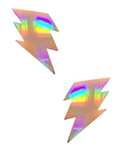 Holographic Lightning Bolt Pasties Nipple Covers for festivals and raves - Holographic Silver