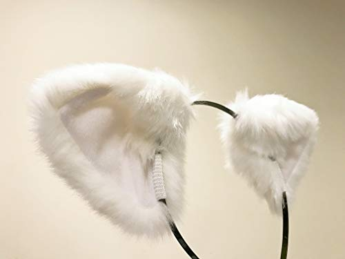 Cat ears Headband - White Furry Animal Headband Costume optional Bow Bells