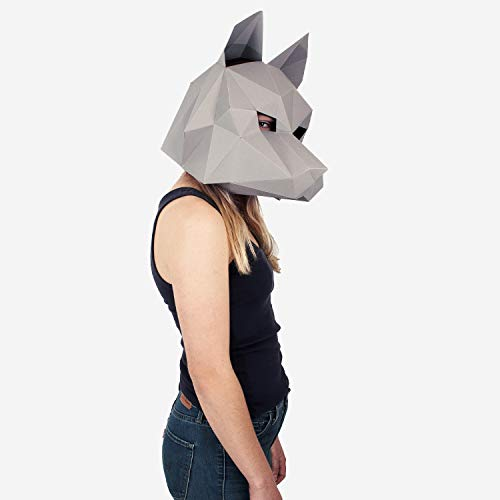 Dire Wolf Mask | Animal Mask | DIY Paper Mask |Geometric 3D Design | Low Poly Mask Grey