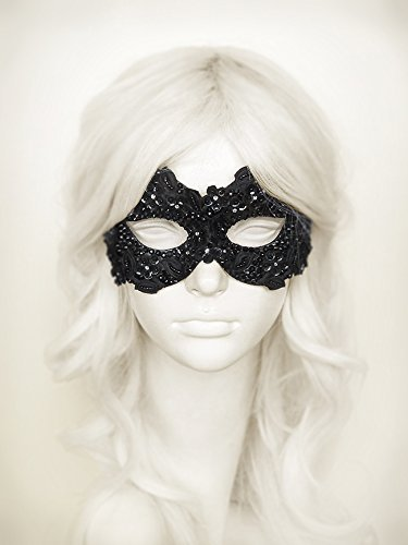 Sequined Black Masquerade Mask Embellished With Rhinestones And Embroidery