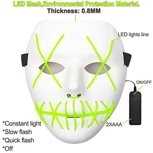 Purge Mask - Green LED Light Up EI Wire Mask