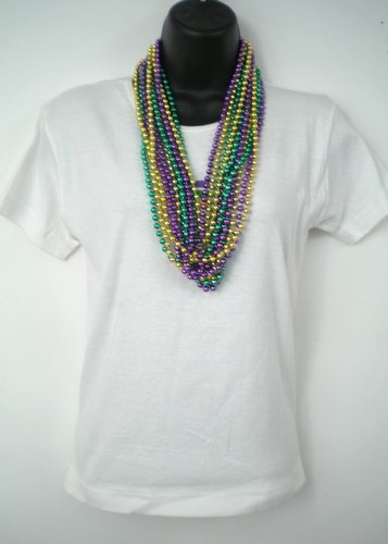 33 inch 07mm Round Metallic Purple Gold and Green Beads - 6 Dozen (72 necklaces)