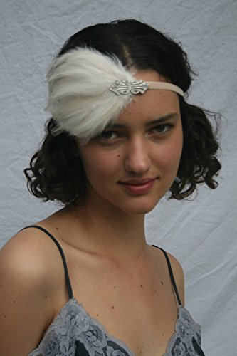 Great Gatsby Feathered Headpiece Swarovski crystal fascinator Headband