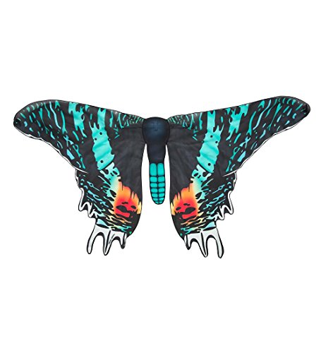 Magnificent Life Like Moth Wings Costume with Slip On Shoulder Straps - Aqua/Sunset