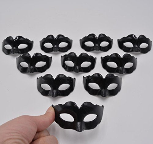 Mini Masquerade Masks Party Decoration - pack of 10 simple black small masks