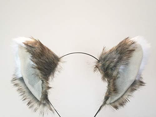 Cat ears headband - Grey Furry Animal Headwear Costume