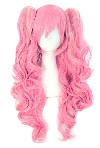 MapofBeauty Multi-color Lolita Long Curly Clip on Ponytails Cosplay Wig (Pink/ Blonde)