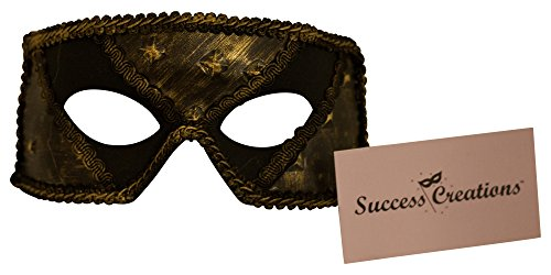 Success Creations USA Duncan Black-Gold Masquerade Mask for Men