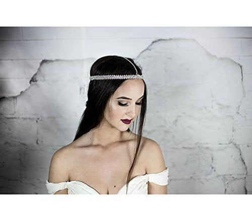 Head Chain, Forehead Headpiece, Bridal, Prom, Wedding crystal headband, Boho hair accessories
