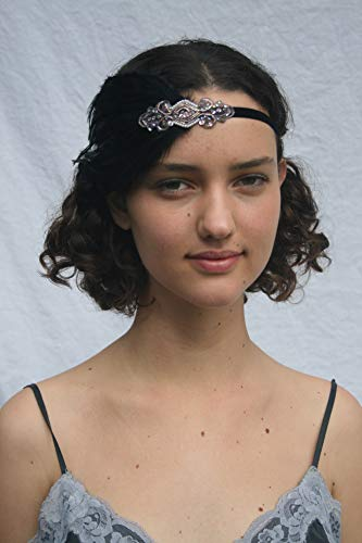 Rose Gold Headband |1920s Gatsby headpiece | Gray Feather Flapper headband