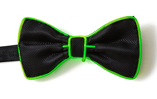 Smart LED Neon Light Up Bow Tie for Raves Dance Dinner Parties and Festivals - Green