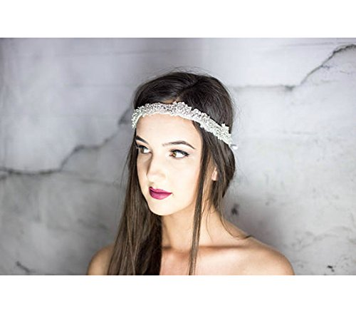 Crystal Bridal Headband / Halo / Prom Headpiece, White Head Chain, Hair Jewelry for the Bride, Boho Hair Jewelry, Statement, Designer