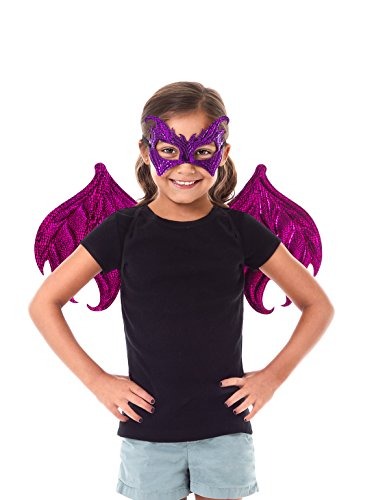 Scaly Dragon Mask and Wing Costume Sets for Parties, Dress Up, Festivals Boys & Girls - Purple