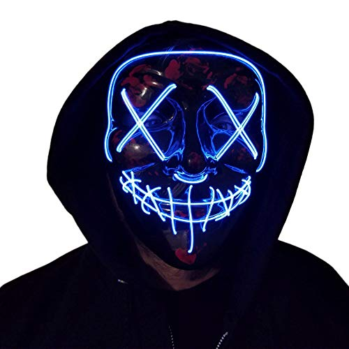 Purge Mask, LED EL Wire Light Up Stitchface Blood Mask Handmade Halloween Mask (WHITE)