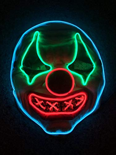 Scary Clown Mask - Creepy Light Up LED EL Wire Latex Rubber Clown Mask