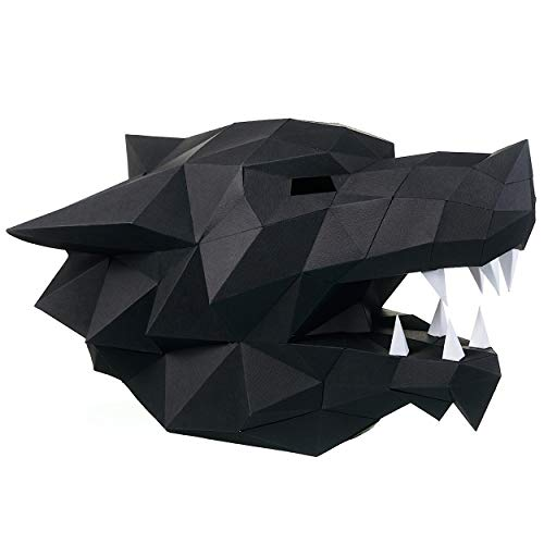 3D Wolf Head Mask Animal DIY for Adults & Kids - NO Scissors Needed