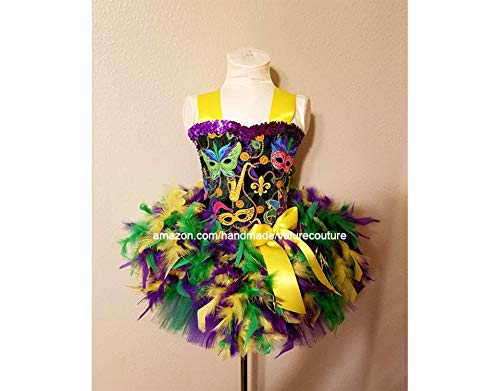 Mardi Gras Mask Feather Inspired Tutu Dress Costume Pageant Birthday Halloween Girls Newborn Infant Toddler Baby Outfit Onesie Shirt Bow Party Princess Kids Gift Topper Favors