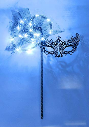Twinkle LED Light up Metal Lace Masquerade Stick Mask for Women