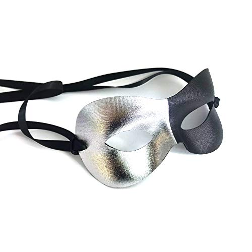 Samantha Peach Silver and Black Harlequin Mens Masquerade Mask - Italian