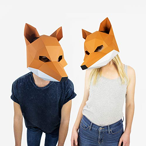 Fox Mask | Animal Mask | DIY Paper Mask | Geometric 3D Design | Low Poly Mask
