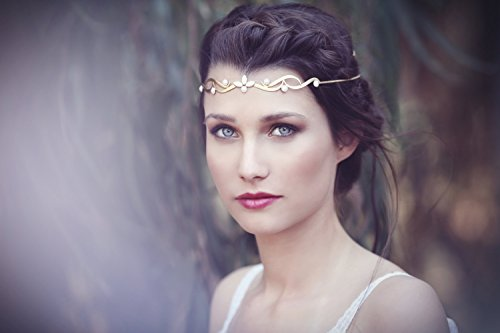 Elegant Pearl Flower Wreath Headband for Boho Grecian style - Gold