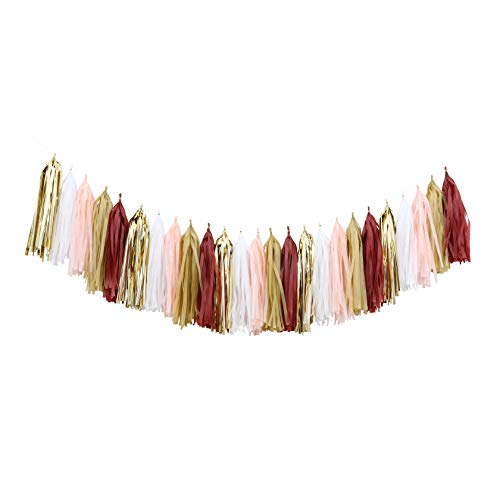 DIY Tassel Garland Kit Balloons Tail Tassels (25pcs, Burgundy Gold Peach Champagne) for Fall Party Thanksgiving Decor Burgundy Wedding Bridal Shower Backdrop