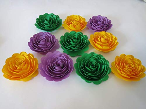 Mardi Gras Party Decorations, Set of 10 Paper Flowers, 3 Inch Roses, Loose Floral Decor, Purple, Green, Yellow Color New Orleans Theme Event