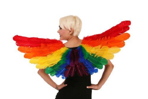 Rainbow Feather Costume Wings - LGBT Angel Fairy Pride