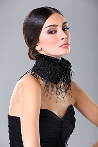 Sexy Black Feather Neck Collar - Handmade Statement Embroidered Choker