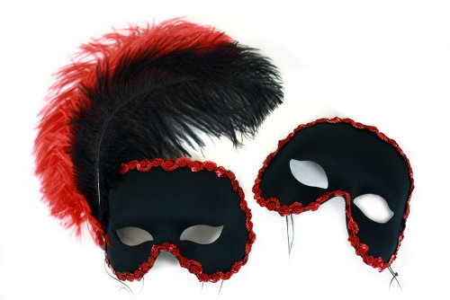 Moulin Rouge Black-Red Masquerade Masks for a Couple