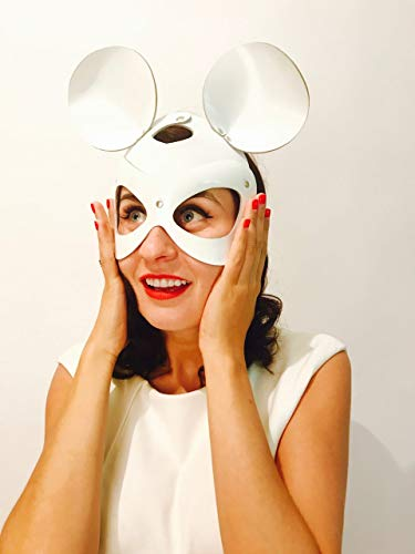 Women's White Leather Mouse Mask - sophisticated Minnie Mouse