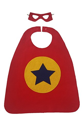Superhero Cape and Mask Set with star for fancy dress costume parties  - red/yellow