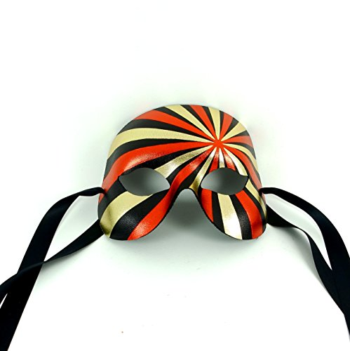 Red/Gold Ziggy Stardust Mens Masquerade Mask - Superior Quality Italian Made
