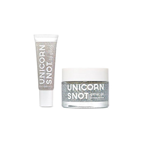 Unicorn Snot Holographic Body Gel and Glitter Lip Gloss Combo Pack, great Festival makeup, body face nails - silver