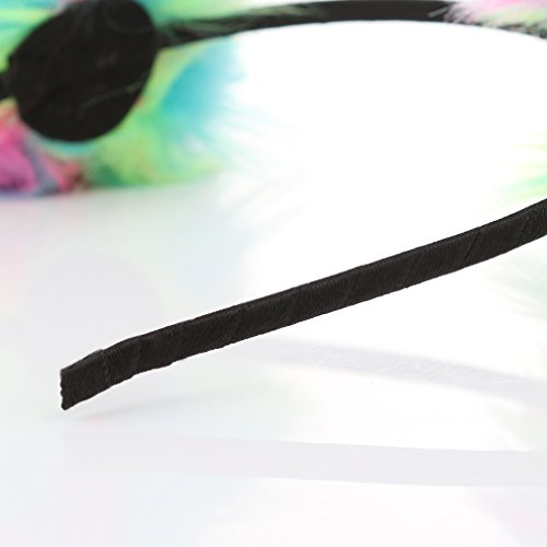 Neon Rainbow Fluffy Ball Headband - Costume Animal Ears Hair Loop