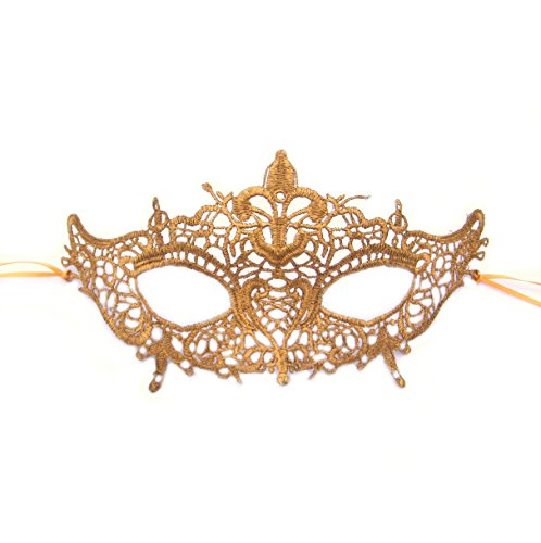 Gold Lace Marie Antoinette Masquerade Mask by Samantha Peach