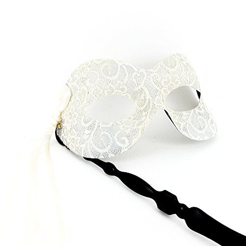 Ivory Pure Lace Stick Mask