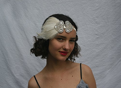 Great Gatsby Silver Feathered Flapper Bridal Headband