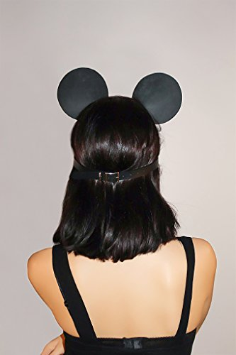 Women's Black Leather Mouse Mask - Naughty Minnie Mouse